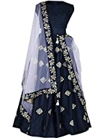 Lehenga choli(Women's Taffeta Anarkali Lehenga Choli (Suppar001_AJ10610_Navy Blue_Free Size)