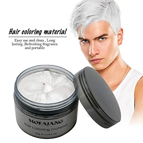 MOFAJANG Unisex Hair Color Dye Wax Styling Cream Mud, Natural Hairstyle Pomade, Temporary Hair Dye Wax for Party, Cosplay & Halloween, 4.23 oz -