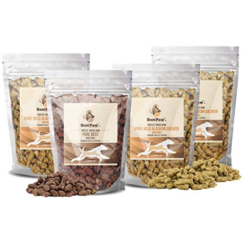 Pure Paw Nutrition Salmon Raw Mini Nibs Treats Toppers Entrees for Dogs and Cats (Buy 3 Get 1 Free Beef)