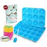 12 and 24 Mini Sizes Silicone Muffin Cupcake Baking Pan, 300 Paper Baking Cup Liners, Silicone Brush, Recipe E-book by Hanindy. Non Stick Silicone Muffin Molds, Silicone Muffin Tray Set of 2