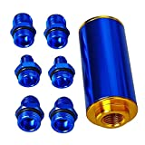 yj fuel filter - Blue Anodized Aluminum Inline Fuel Filter 50MM AN6 AN8 AN10 with 100 Micron Element Stainless Steel