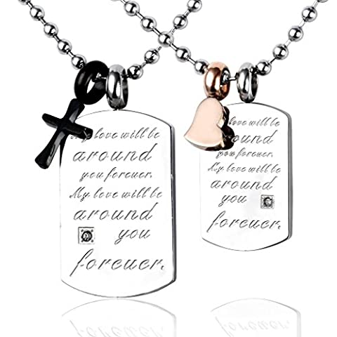 PiercingJ 2pcs His & Hers Couple Stainless Steel Inscription Dog Tag Heart Cross Necklace Set Pendant Lovers Necklace- With 22