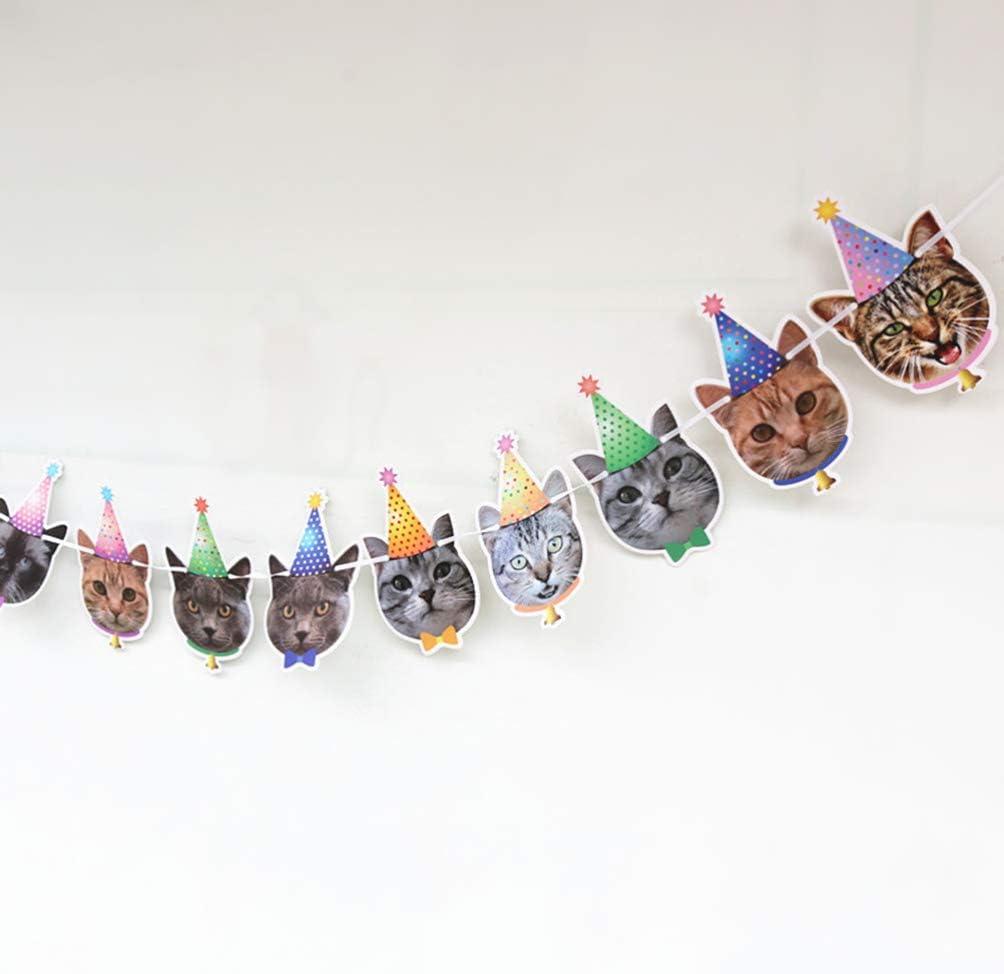 Amosfun Lot de 2 Drapeaux en Papier pour Animal de Compagnie Motif Chat