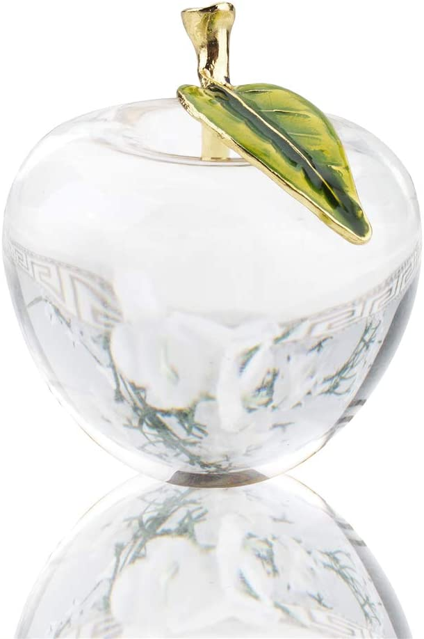 H&D Unique Crystal Apple Figurine Paperweight,Art Glass Apple Collectible Figurines Best for Lucky Christmas Eve Gifts/Great Wedding Decor Gifts