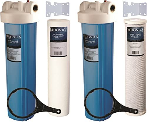 Two 20 BLUONICS Big Blue Whole House Water Filters with Sediment Carbon 4.5 x 20 Filter Cartridges Included