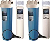 Two 20'' BLUONICS Big Blue Whole House Water Filters with Sediment & Carbon 4.5 x 20'' Filter Cartridges Included