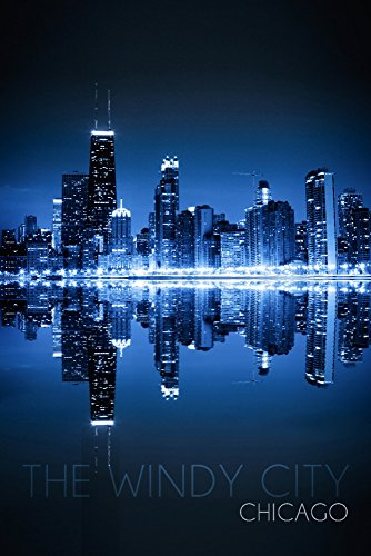 Chicago, Illinois - The Windy City - Skyline at Night (9x12 Art Print, Wall Decor Travel -
