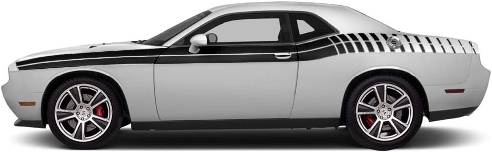 FactoryCrafts Dodge Challenger 2011-2018 Gradient Stripe Graphics Kit 3M Vinyl Decal Wrap Silver