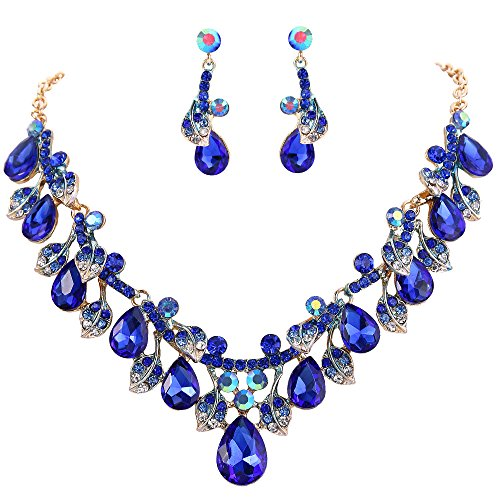 BriLove Wedding Bridal Necklace Earrings Jewelry Set for Women Crystal Enamel Teardrop Cluster Leaf Vine Statement Necklace Dangle Earrings Set Royal Blue Sapphire Color Gold-Toned