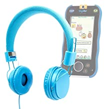 DURAGADGET Blue Ultra-Stylish Kids Fashion Headphones For Vtech DigiGo Kids Tablet
