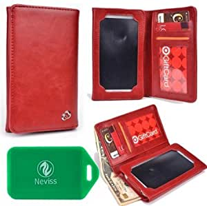 UNIVERSAL unisex BI FOLD WALLET/PHONE CASE W/TOUCH SCREEN IN RED FOR Tracfone LG840G