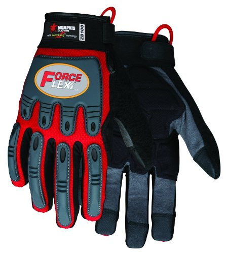 MCR Safety ZB100XXL ForceFlex Clarino Synthetic Leather Anti-Impact Gloves with Zoombang, Hook and Loop Wrist Closure, 2X-Large, 1-Pair