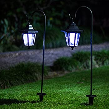 GIGALUMI 26 Inch Solar Lights Outdoor, Hanging Solar Coach Lantern With 2  Shepherd Hooks (