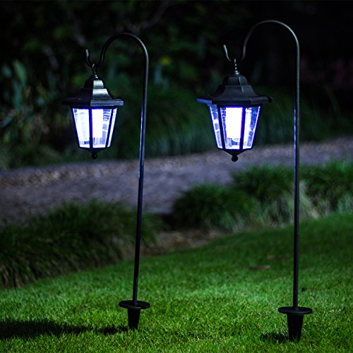 GIGALUMI 26 inch Solar Lights Outdoor, Hanging Solar Coach Lantern 2 Shepherd Hooks (2 Pack) - Decorative Pole Lighting