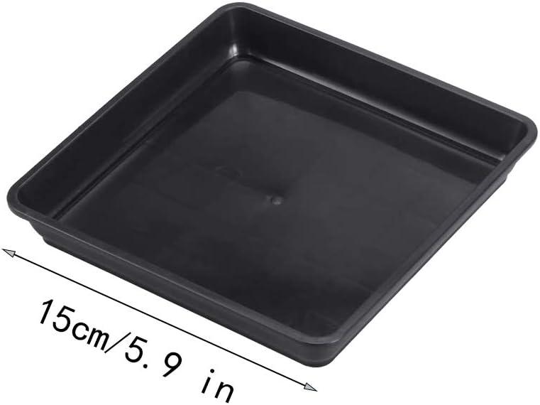 Wankd Lot de 5 soucoupes rectangulaires en plastique pour pot de fleurs Convient pour lint/érieur et lext/érieur Anthracite 15 cm