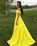 Prom Dresses off the Shoulder Evening Dresses Satin Party Dress A-Line Long with Pocket Formal Gown…