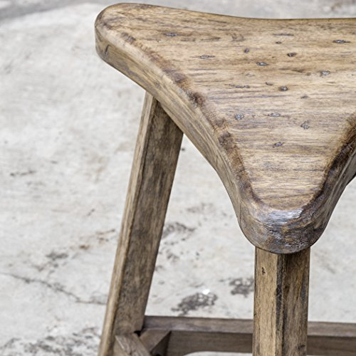 Distressed Weathered Oak Wood Triangle Counter Stool | Bar Minmalist Industrial by My Swanky Home (Image #2)