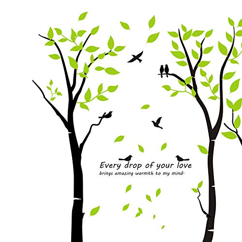 Mix Decor Tree Wall Decal - 7 Trees Wall Sticker Large Family Forest for Livingroom Kid Baby Nursery Room Deer Wooland Decoration Party Birthday Gift,118x83 Inch Black + Green by Mix Decor (Image #3)