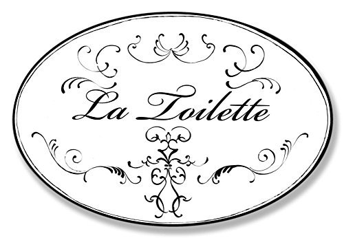 Wall Plaque La Toilette White With Black Scrolls Oval Bathroom Wall Plaque, 10 x 15
