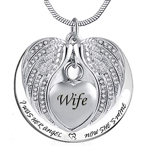 PREKIAR Angel Wing Urn Necklace for Ashes, Heart Cremation Memorial Keepsake Pendant Necklace Jewelry with Fill Kit and Gift Box (Wife)