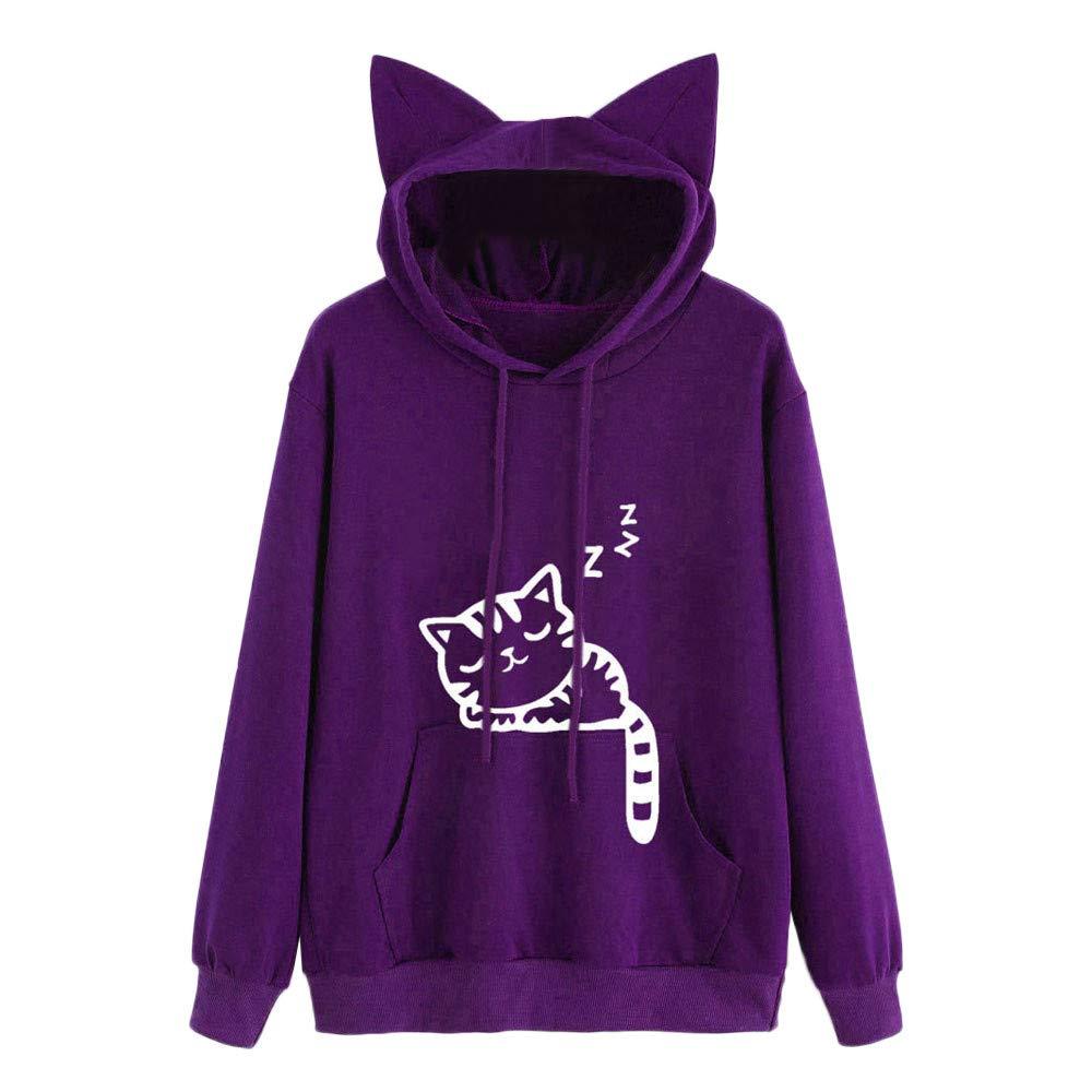 Opeer Hooded Womens Cat Long Sleeve Hoodie Sweatshirt Hooded Pullover Tops Blouse (2XL(US:12), Purple)