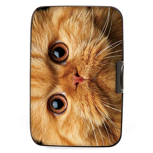 Fig Design Group Orange Cat Face RFID Secure Theft Protection Credit Card Armored Wallet Pet New