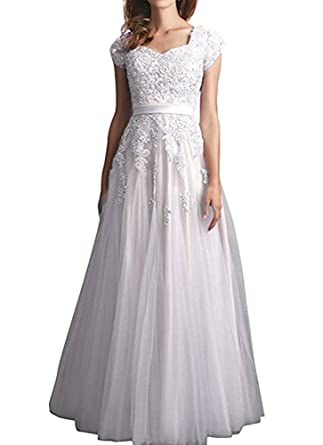 3ce9561d56 Amazon.com  Firose Long Prom Dresses Cap Sleeves Lace Appliques Evening  Gowns for Women  Clothing
