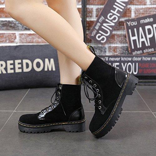 Ladies Zapatos 39 Para Con De Boots Agecc Grueso Ti Good Mujeres Británico Martin Altos Womens Luck Black Todo Solteros 38 El Winter Retro Invierno Estilo 65wwHxqYf