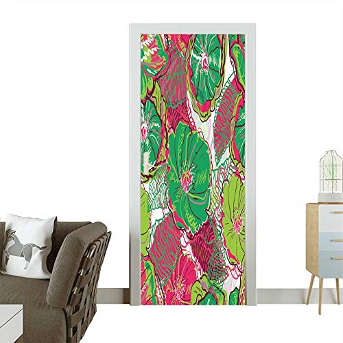 Art Door Stickers Abstract Seamless Vector Texture with Bright Flowers Door Decals for Home Room Decoration W35.4 x H78.7 INCH