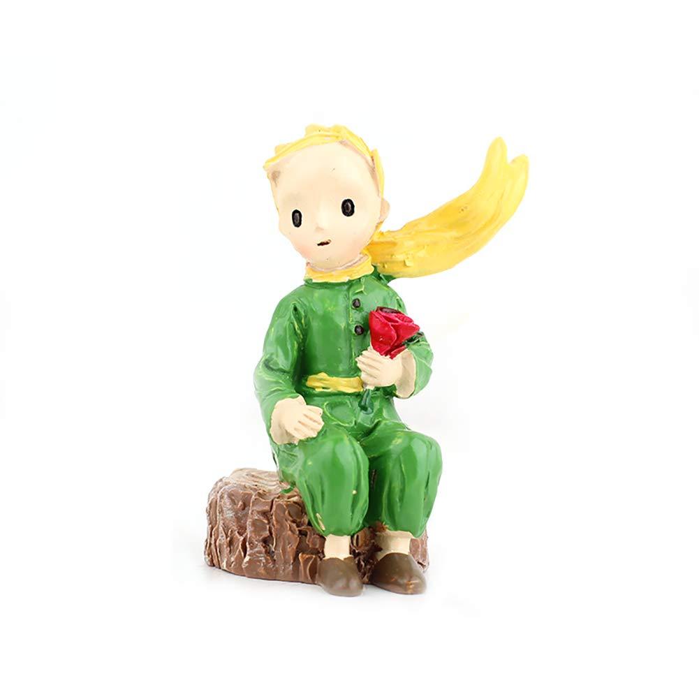 1pc Resina Ornamenti Boy Principe Decorazione del mestiere Statua in Piedi Figurine Ornamenti Micro Paesaggio della Decorazione (Sitting) ouken