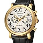 Forsining Men's Luxury Brand Day Calendar Automatic Stainless Steel Case Leather Strap Wrist Watch FSG9407M3G1