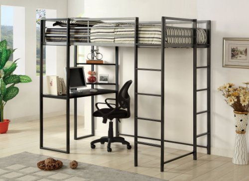 Furniture of America Seina Loft Bed with Workstation and Shelf