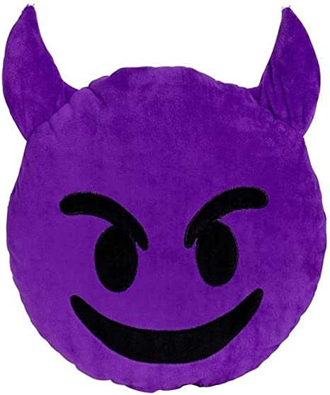 Expressions Purple Devil Emoticon Pillow