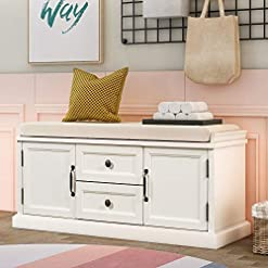 Entryway Merax Storage Bench Wooden Storage Bench with 2 Drawers and 2 cabinets, Shoe Bench Storage Bench with Removable Cushion…