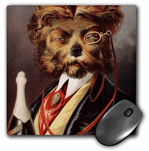 Price comparison product image 3dRose LLC 8 x 8 x 0.25 Inches Mouse Pad, Dog In Smoking Jacket With Champagne (mp_48548_1)