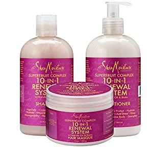 Shea Moisture Superfruit complex 10 in 1 Renewal System w/ Marula Oil & Biotin Combination Set Includes Shampoo, Conditioner and Hair Masque