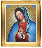 Classic Lady of Guadalupe Original Oil Painting on Stretched Canvas, 20 X 24 Framed (Gold) With Multiple Framing Options
