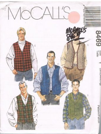 OOP MCCALL'S 8469 BIG MEN'S 5 DIFFERENT LINED VESTS SEWING PATTERN SIZE: Z (XL - 2XL - 3XL)