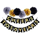 Cheers To 50 Years Banner Birthday Wedding Anniversary Party Decoration Supplies (50TH)