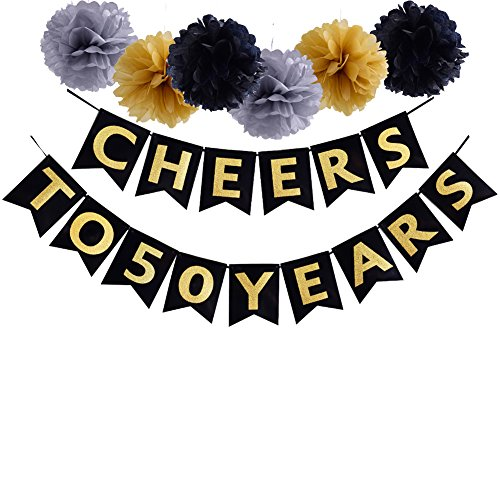(50th Birthday Party Decoration Cheers To 50 Years Banner For Wedding Anniversary Party Supplies)