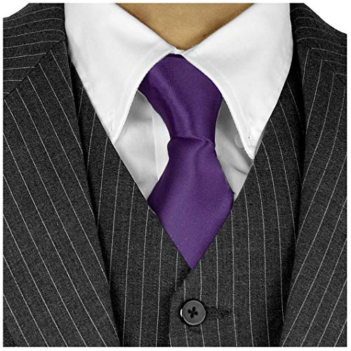 Long Ties For Men 3in Satin Silk Finish Neck Ties Fashion Solid Color - Dark Purple Neckties