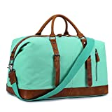 Canvas Overnight Bag Travel Duffel Genuine Leather for Women and Men Weekender Tote (Mint Green)