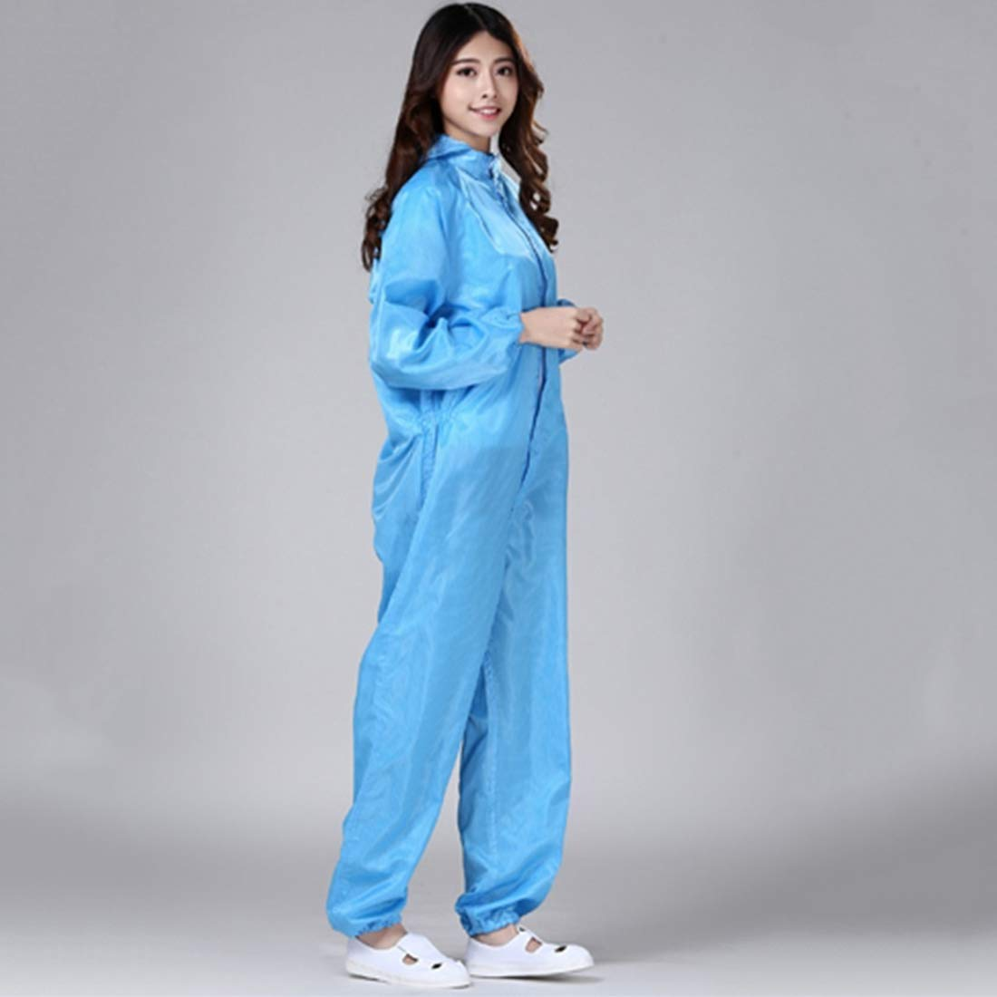 Jubang Surgical Gowns Isolation Gowns Long Sleeves High Temperature Resistance with Hood Protective Suit Nurse Uniform Anti-Static Jumpsuit Workwear for Chemicals Hospital Blue 2XL