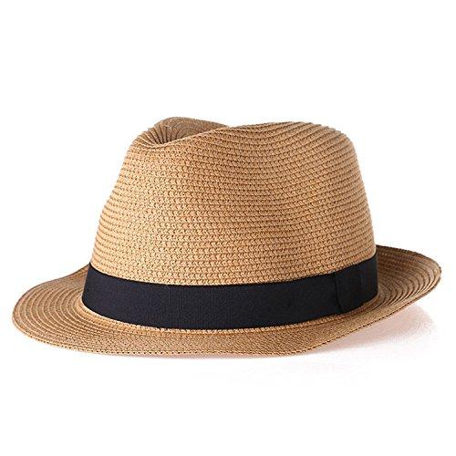 - Rising ON Women Hat For Men Hat Ladies Summer Beach Cap Sun Hat Female Panama Straw Male Gangster Trilby Fashion Sun Visor Cap khaki,onesize,Orange