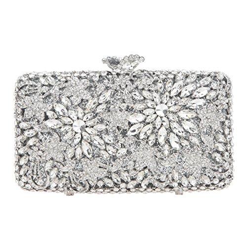 Match Gold Ab Crystal Flower Rhinestone Clutch Women Evening Bonjanvye For Purse Dressing Silver vP1OvZ