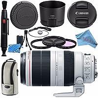 Canon EF 100-400mm f/4.5-5.6L IS II USM Lens 9524B002 + 77mm 3 Piece Filter Kit + Lens Cleaning Kit + Fibercloth Bundle