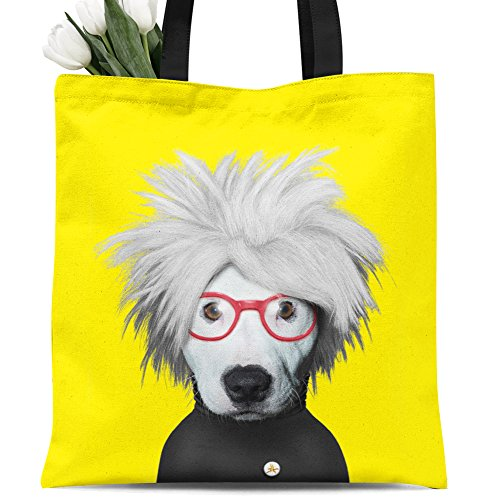 Animals Canvas (Ladies canvas tote bag reusable shopping bag zipper handbag Animal Print Cute Design pet imitation show. Individual Zippered Storage Pouch (Yellow dog))