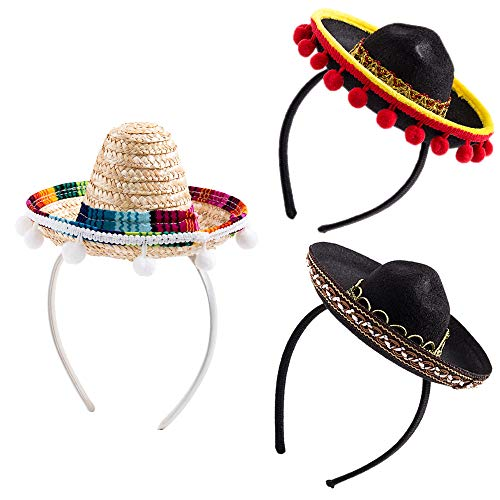 Sombreros In Bulk (3Pcs Cinco De Mayo Sombrero Headband, Fiesta Sombrero Party Hats with Ball Fringe Decoration for Carnivals Festivals, Dia De Muertos, Coco Theme, Wedding, Birthdays and Party)
