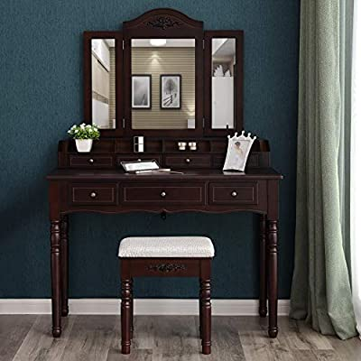 VASAGLE Vanity Set, Tri-Folding Necklace Hooked Mirror, 7 Drawers, 6 Organizers Makeup Dressing Table with Cushioned Stool Easy Assembly from VASAGLE