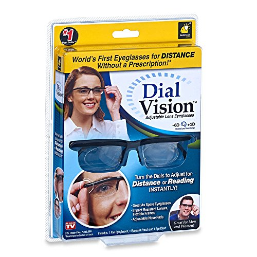 New  Dial Vision Adjustable Glasses In Black As Seen On Tv